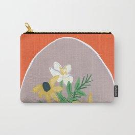Orange Floral Vignette  Carry-All Pouch