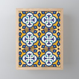 Yellow and Blue Moroccan Tile Framed Mini Art Print