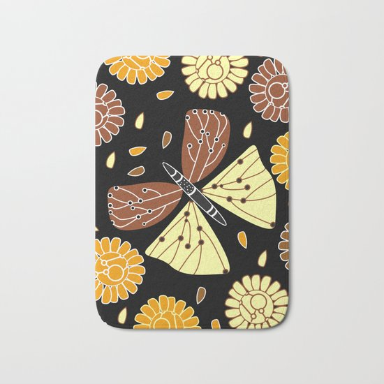Butterfly and flowers Bath Mat