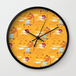 Skateboarders Holiday Pattern Wall Clock