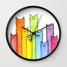 Rainbow of Cats Funny Whimsical Animals Wall Clock