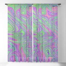 fractal neon green purple pink Sheer Curtain