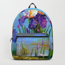 Irises at the pond Backpack