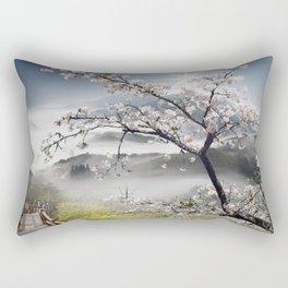 Japanese Cherry Landscape Rectangular Pillow