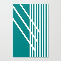 CVS0097 Teal Blue with White Criss Cross Stripes Canvas Print