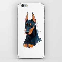 Watercolor Doberman, Doberman Watercolor, Doberman Painting iPhone Skin