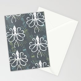 Ghostly Squid Damask Stationery Cards