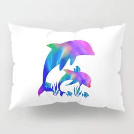 Rainbow Dolphins swimming in the sea Pillow Sham