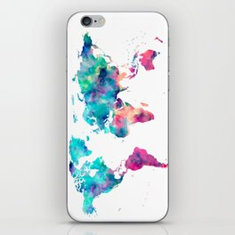 World Map Turquoise Pink Blue Green iPhone Skin