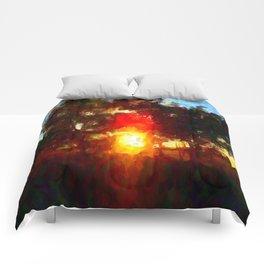 Sun Between Trees Comforters