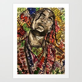 La flame,travis,music,hiphop,poster,astro world,tour,wall art,artwork,painting,colourful Art Print