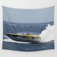 racing Wall Tapestries featuring Powerboat Racing by Malcolm Snook