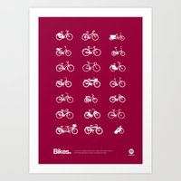 bikes Art Prints featuring Bikes by Nadasol