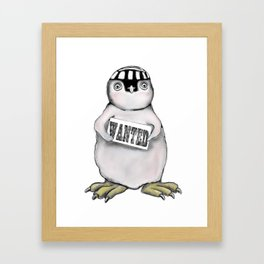 Wanted Penguin Framed Art Print