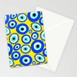 Greek Eye Blue Yellow Pattern Stationery Cards