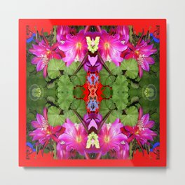 Modern Fuchsia Flowers Still Life Abstract Metal Print