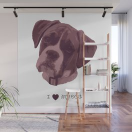 I love my dog - Boxer, pink Wall Mural