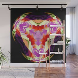 Neon Lotus Seal Abstract Wall Mural