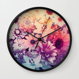 Hipster Flowers Wall Clock