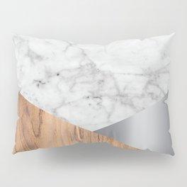 White Marble Wood & Silver #157 Pillow Sham