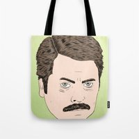 ron swanson Tote Bags featuring Ron Swanson by Chase Kunz