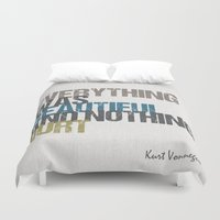 vonnegut Duvet Covers featuring Everything was beautiful and nothing hurt – Kurt Vonnegut quote Slaughterhouse Five by MissQuote