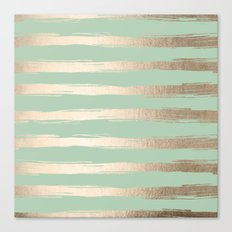 Simply Brushed Stripes White Gold Sands on Pastel Cactus Green Canvas Print