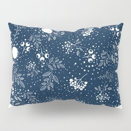 Blue and White Seamless Flower and Leaves Pattern Pillow Sham