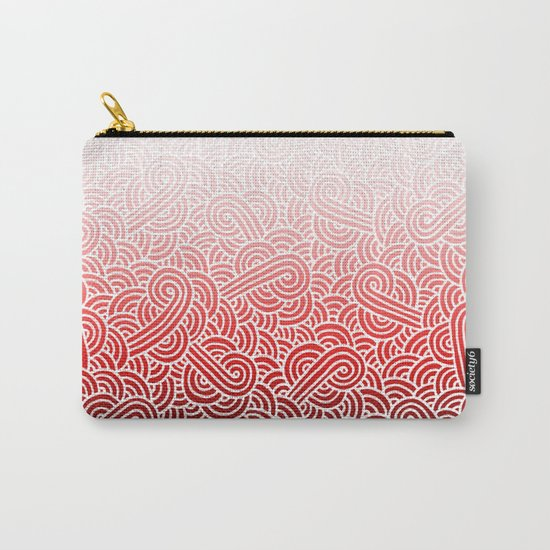 Ombre red and white swirls doodles Carry-All Pouch