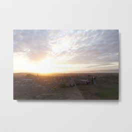 Salisbury Crags overlooking Edinburgh at sunset 2 Metal Print