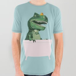 Playful T-Rex in Bathtub in Green All Over Graphic Tee