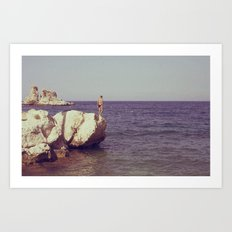 rocks at tonnara di scopello Art Print