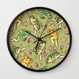 Reverse mermaids Wall Clock