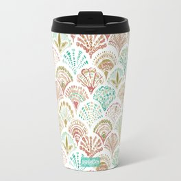 SHELL OUT Coral + Mint Mermaid Scales Travel Mug