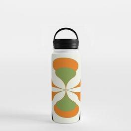 Mid-Century Modern Art 1.4 - Green & Orange Flower Water Bottle