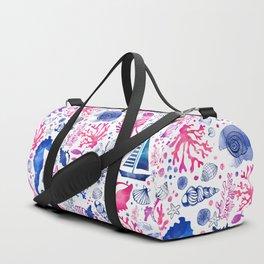 Hand painted blush pink blue watercolor nautical sea pattern Duffle Bag