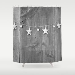 Stars on Wood (Black and White) Shower Curtain