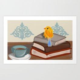 Bookworm Birdie Art Print
