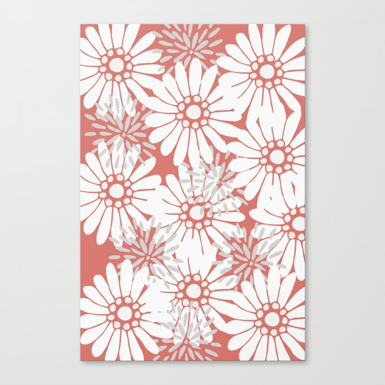 Summer Flowers Red Canvas Print