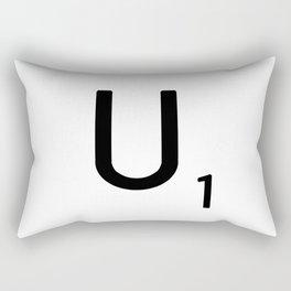Letter U - Custom Scrabble Letter Tile Art - Scrabble U Initial Rectangular Pillow