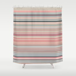 Pink Peach Pastel Stripe Design Shower Curtain
