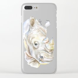 Rhino Watercolor Clear iPhone Case
