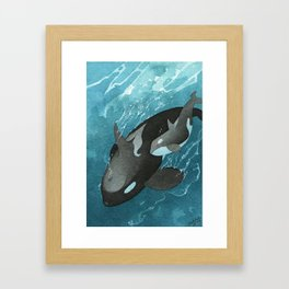 Mother & Baby Orca Framed Art Print