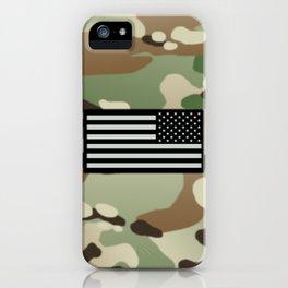 Woodland Camouflage & Black Flag iPhone Case
