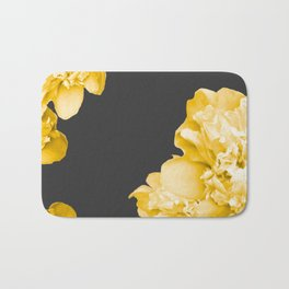 Yellow Flowers On A Dark Background #decor #society #homedecor Bath Mat