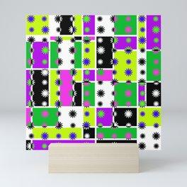 Mondrian Mod Daisy Design - Green Mini Art Print