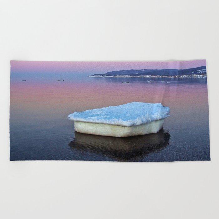 Ice Raft on the Sea Beach Towel