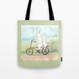 Bunnies on a Bicycle Tote Bag