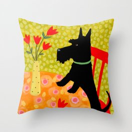 Scottie Dog and Tulips Throw Pillow