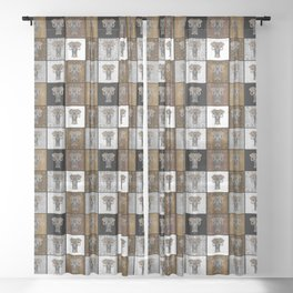 Ganesha Checkerboard Pattern Sheer Curtain
